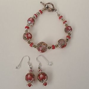 Handmade Rose bracelet and earrings